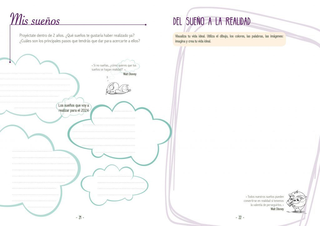 Doble página agenda CreaTuVida 2022 - Visión y sueños